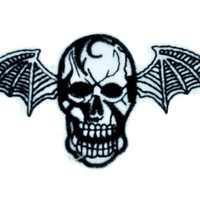 Bat Wing Skull Patch Iron on Applique Deathrock Clothing