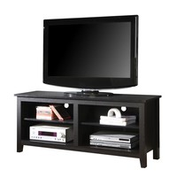 "58"" Black Wood TV Stand Console"