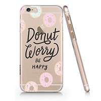 Birdbibishop- Donut Worry Be Happy Sweethard Plastic Cover Phone Case for Iphone 6/6s Hot Trend Design Pattern (White)