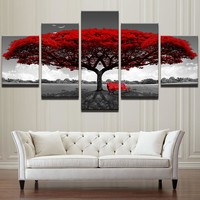 Home Decor HD Printed Wall Art Pictures 5 Piece Red Tree Art Scenery Landscape Canvas Painting Home Decor For Living Room PENGDA