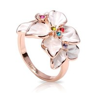 FASHION PLAZA White Enamel & Multi-color Swarovski Crystals Flower Ring (Available in Sizes 5 6 7 8 9) R79: Jewelry