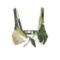 Grace Front Knot Bikini Top - Tropical Palm Print