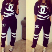 Stylish Letters Long Sleeve Shirt Sweater Pants Sweatpants Set Sportswear