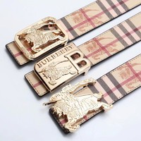 Burberry popular print gold buckle belt fashion casual belt for men and women