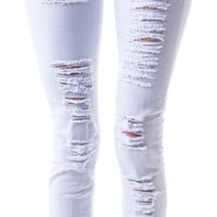 Cello Jeans Brandy Destroyed Hi Waisted Jeans White