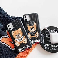 """MOSCHINO"" Unisex Personality Fashion  Cartoon Bear Letter  Apple iPhone Snap-on Phone Case Hard shell  Phone Case"