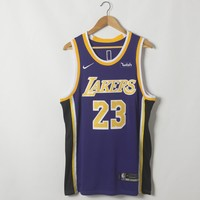 Men's Los Angeles Lakers LeBron James Nike Purple 2018/19 Swingman Jersey - Icon Edition - Best Deal Online