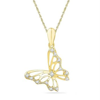 10kt Yellow Gold Womens Round Diamond Butterfly Bug Pendant 1-12 Cttw