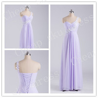 Newest Bridesmaid /Party/Evening/Prom/Formal Dress Chiffon 2014 A-Line Sweetheart Appliques One-shoulder Chiffon Lace-up Ruffle Floor-length