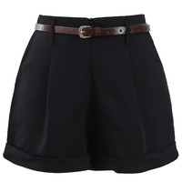 Basic Belted Shorts in Black Black M