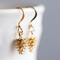 Gold Pine Cone Earrings Little Pine Cone Dangle Earrings Christmas Jewelry Gold Pinecone Earrings - E118