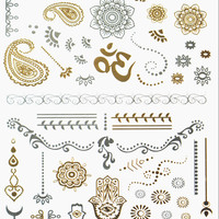 Inner Peace Metallic Flash Tattoo Pack - Bindi, Tikka, Crown & Forehead Art