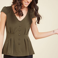 Authentically Alluring Top Button-Up Top in Olive   Mod Retro Vintage Short Sleeve Shirts   ModCloth.com