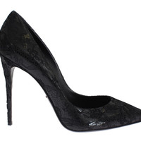 Dolce & Gabbana Black Leather Lace Stiletto Heel Shoes