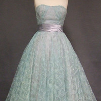Embroidered Aqua Tulle 1950's Prom Dress VINTAGEOUS VINTAGE CLOTHING
