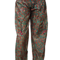 Women's Harems Pants Silk Green Printed Hippie Yoga Hip-hop Hippie Pants Onesize