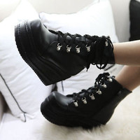 Cosplay Womens Lace Up High Platform Chunky Heels Motorcycle Gothic Ankle Boots