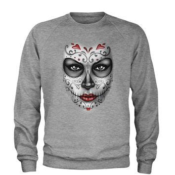 Large Day Of The Dead Face Adult Crewneck Sweatshirt
