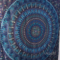 BLUE HIPPIE TAPESTRY Indian Floral Mandala Tapestry Bedspread Coverlet Sheet, Small Tapestry Wall Hanging, Home Decor Art