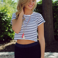 Sailin' On Crop Top - Navy