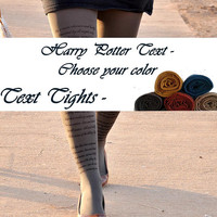 Harry Potter  -printed text tights - printed tights -tights in colors - harry potter clothes - harry potter gift
