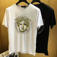 Versace 2019 new embroidery hot drilling men's casual round neck half-sleeved T-shirt