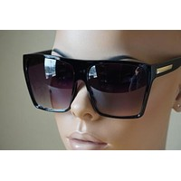 BLACK Oversized Large XL Big Sunglasses Kim Square Flat Dark Celebrity Womens