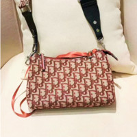 Dior sells women's fashion printed canvas embroidered shoulder bag Red