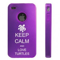 Apple iPhone 4 4S Purple D6705 Aluminum & Silicone Case Cover Keep Calm and Love Turtles