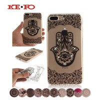 KeFo Phone Case For iPhone 7 plus 8 plus Clear Rhinestone Coque Fundas Floral Flowers Soft TPU Cover Cases For iphone 8 Plus
