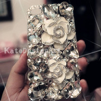iphone 4s case, handmade iphone 4 cases iphone cover skin bling bling iphone 5 case - flowers crystal iphone 4 cases