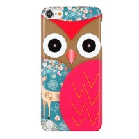 Pandamimi ULAK(TM) Cute Cartoon Owl Print Design Hard Cover Case for Apple iPod Touch Generation 5 with Screen Protector and Stylus (Red Cartoon Owl)