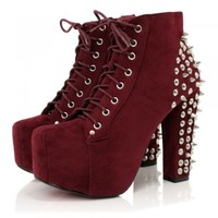 Burgundy Suede Style Spiked Ankle Boots | Buy Burgundy Suede Style Spiked Ankle Boots Online