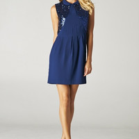 Sequin Accent Rounded Collar Knit Dress