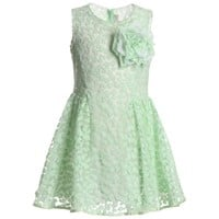 Green Tulle Dress with Rose Brooch
