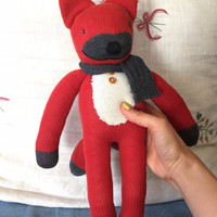 """Handmade Red Fox socks doll 16.5"""" with Gray scarf and wood botton for any children gift"""