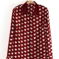 Red Heart Print Chiffon Long Sleeve Shirt Collar Blouse