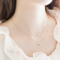 Fashion Gold Heart-shaped Necklace Choker + Gift Box