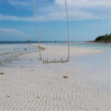 Wanderlust Necklace Gold Spelled Out In Cursive Not All Who Wander Are Lost