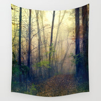 Wandering in a Foggy Woodland Wall Tapestry by Olivia Joy StClaire