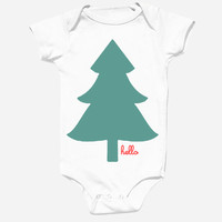 Hello Merch — Holiday Tree (Babies) White One-Piece with snaps