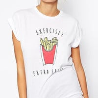 White Fries Letters Printed Roll-up Shirt