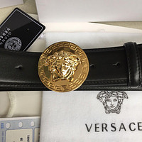 New Versace Round Gold Medusa Buckle Black Leather Men's Belt 105/42 fit 37-38