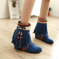 Retro Tassel Flats Ankle Boots Women Shoes 8974