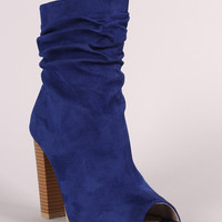 Suede Slouchy Peep Toe Chunky Heeled Ankle Boots