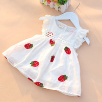 Baby Girl Dress 0-2Y Newborn Baby Summer Embroidery Flower Strawberry Cotton Dress Infant Baby 1Year Birthday Dress Baby Clothes