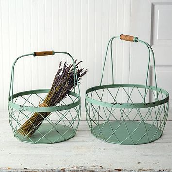 Set of 2 Robins Egg Wire Baskets