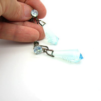 Moonstone Glass Earrings. Vintage Japan Opalescent Reverse Carved Pagodas. Asian Opalite Blue Opal Faceted Drops Sterling Silver Screw Backs