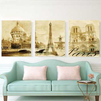 3pc/set Paris Street DIY Painting By Numbers Handpainted Canvas Painting Home Wall Art Picture For Living Room Unique Gift hq