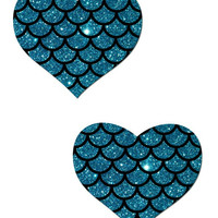 LOVE: TURQUOISE GLITTER HEART & SCALES NIPPLE PASTIES